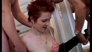 Redhead cougar with two guys - Java Productions