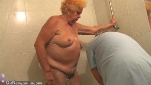 Old chubby granny sucks dick and masturbates