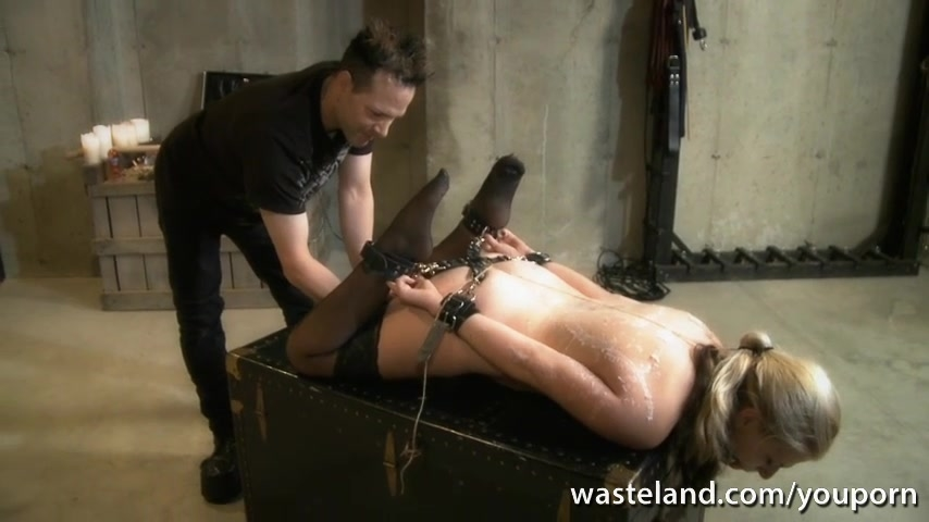 Tied blonde slave gives Master