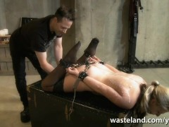 Tied blonde slave gives Master a footjob til he cums over her feet