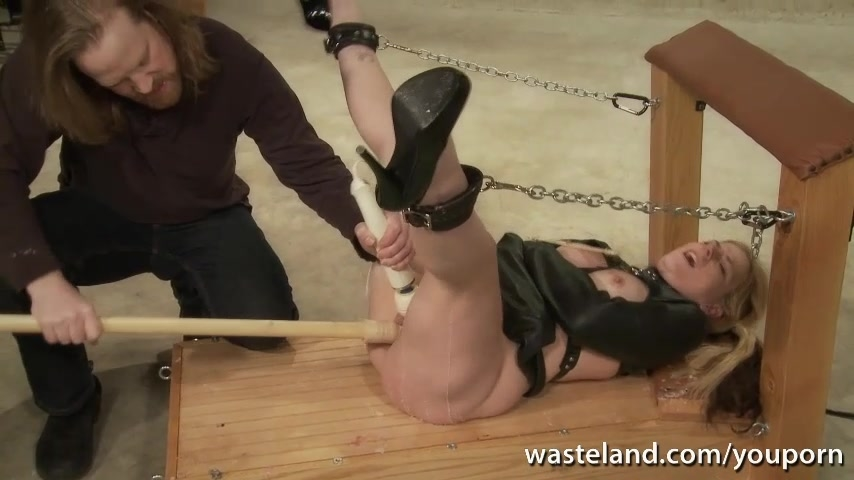 Tied blonde sex slave given or