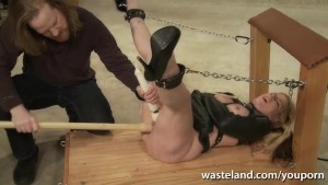 Tied blonde sex slave given orgasms by Masters multiple sex toys