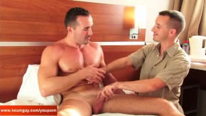 My sexy gym trainer gets sucked by a guy for a porn movie!