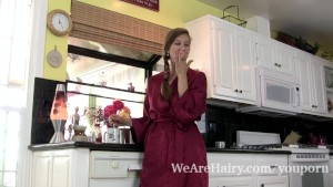 Valentine strips naked in the kitchen to show off
