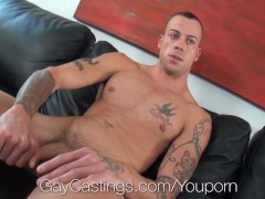 Muscular stud with tattoos porn audition