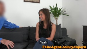 FakeAgent Shy brunette quits her job to be a porn star