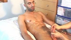 Samir's huge cock gets wanked by a guy despite of himself!
