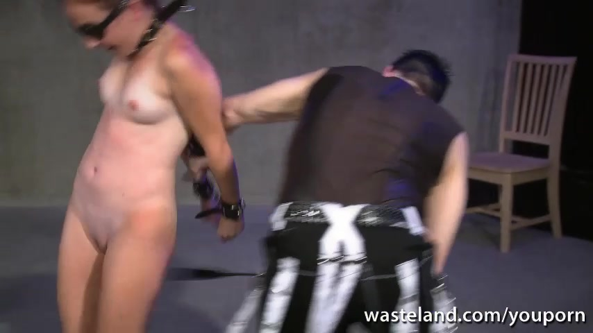 Chained blindfolded slave give