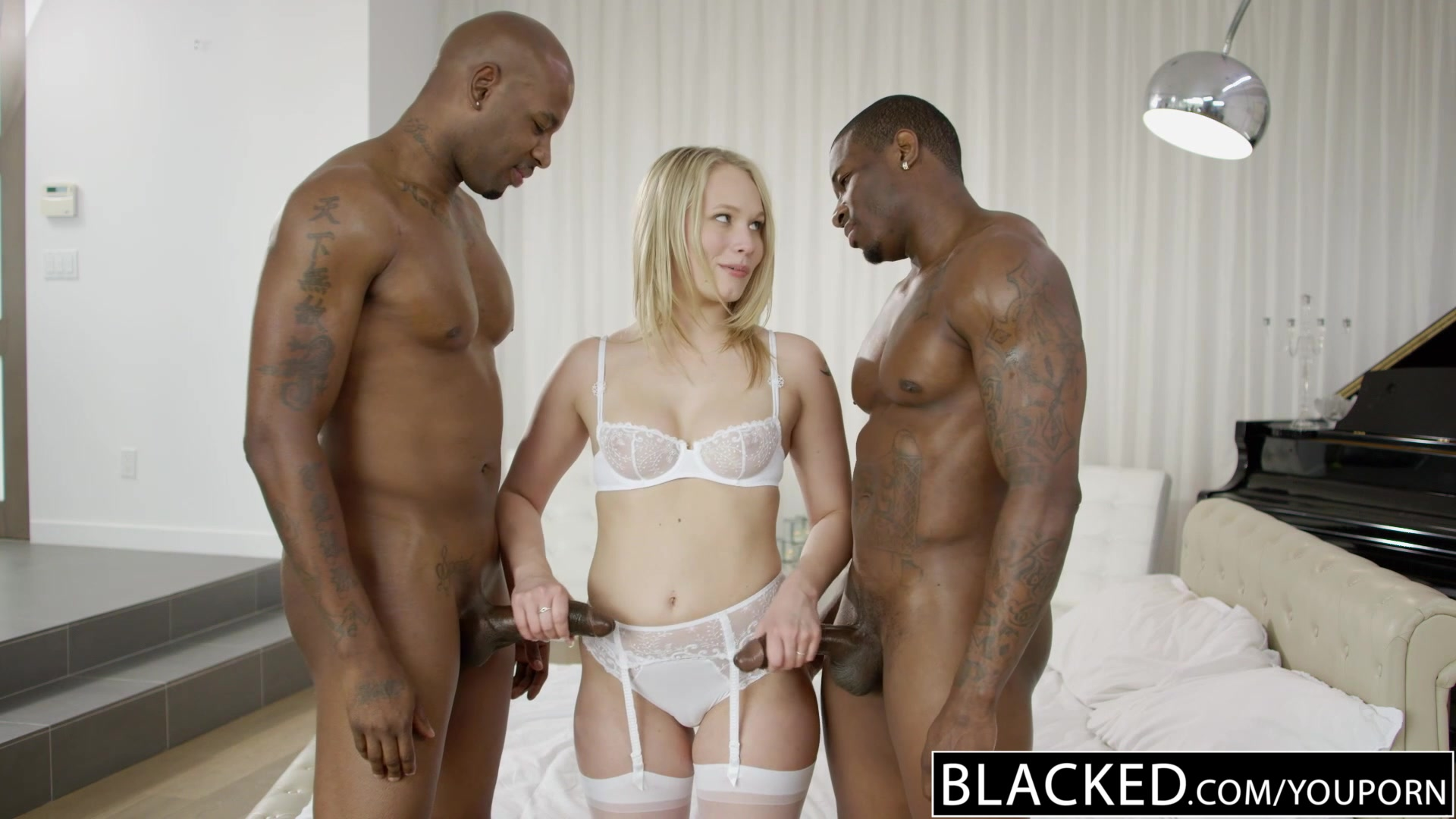 Beautiful Blonde Dakota James Screams With 2 Big Black Cocks