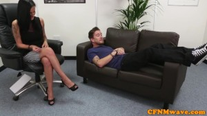CFNM mistress Bluebell handling dick