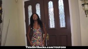 ThisGirlSucks - Ebony Teen Loves To Suck White Cock