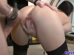Euro mature in lingerie gets cum on ass after sex
