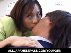 Nao Kirishima sucks boner and is fucked in hairy crack at office