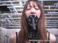 Pussy pegged and electro toy orgasms for Asian babe in dungeon BDSM session