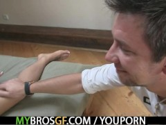 Horny girl cheats on her man with his brother