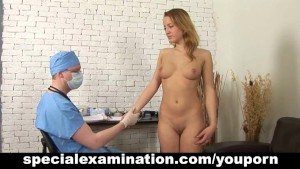 Shy teen babe and nasty gynecologist