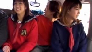 Airin Okui and chick in school uniform suck boners in the car
