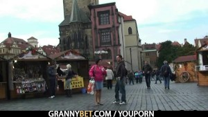 Old granny tourist jumps on cock