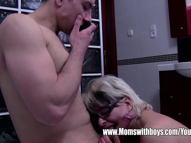 Stepmom fucks stepson in shower
