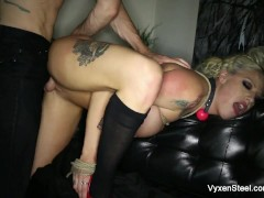 Picture Vyxen Steel gets her throat, pussy, and ass...