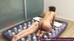 Girls Out West - Sticky lesbian massage and hairy pussy licking