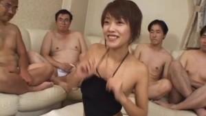 Sakura Sakurada has hairy pussy licked and fucked in big gangbang