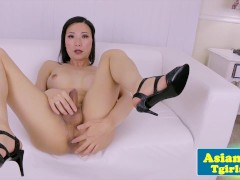 Amateur ladyboy casting with a tugging tranny
