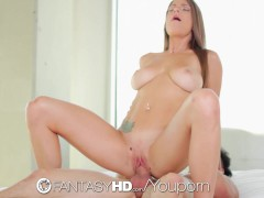 FantasyHD - Teen left home alone with pool boy swallows his cum