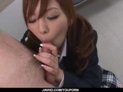 Miku Airi Asian schoolgirl blows a big dick