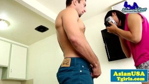 Assfucked tgirl closeup with her man