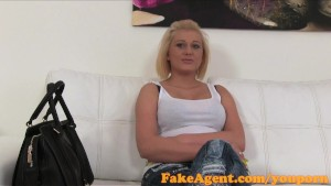FakeAgent Blonde with Amazing natural tits talked into sex