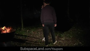 Debauched bdsm at midnight in the woods for teen gal