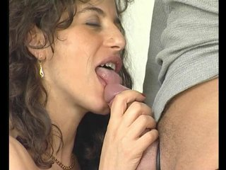 Lingerie Blowjob Brunette video: Hot german brunette sucks him off - Julia Reaves