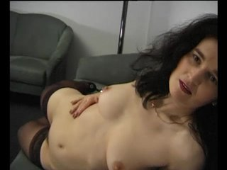 Stockings Brunette Milf video: Mature brunette playing with herself - Julia Reaves