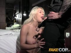 Fake Cop Hotel room blonde surprise for cop