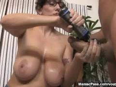 Picture Busty MILF loves handjobs