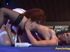 hot lesbian sex show on public stage