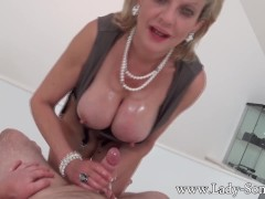 Milf Lady Sonia with first timer Massage table Handjob