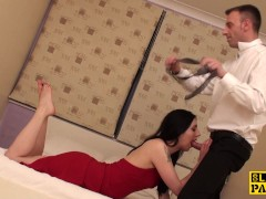 Obedient sub pleases her master with her feet