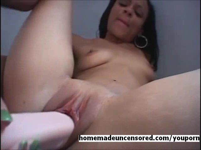 Huge dildo fucking tight ebony pussy