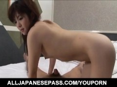 Rika Koizumi licks balls and dick and is screwed in hairy pussy