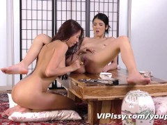 Asian lesbians showering in each others piss