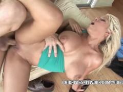 Busty slut Bridgette B fucks hard and gets a big facial