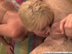 Busty Blonde MILF Licks Ass Before Getting Fucked!