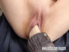 Fisting his hot wifes snatch in public