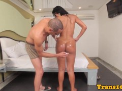 Picture Tanlined latina tgirl analfucked up booty