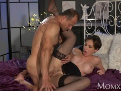 Picture MOM Office woman in stockings wants rock har...