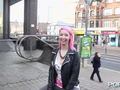 Picture Pink hair slut flashing in public