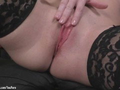 Picture Angela Sommers strips playing with that puss