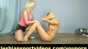 Tall blonde has nude lesbian workout